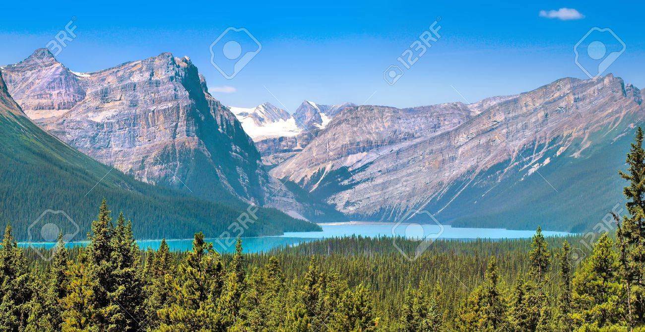 Canadian wilderness with rocky mountains in jasper national park alberta canada stock photo