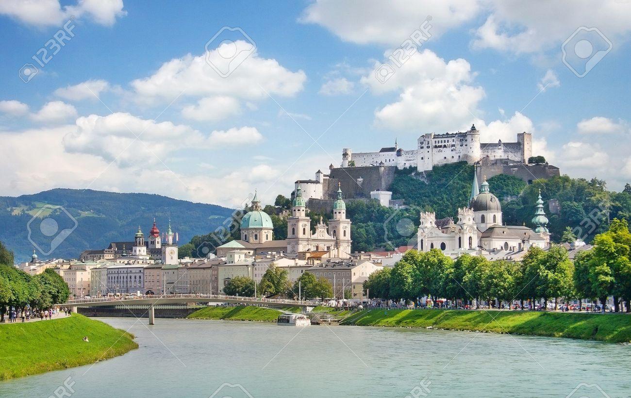 Salzburg skyline with river Salzach in Salzburger Land, Austria Stock Photo - 17347239