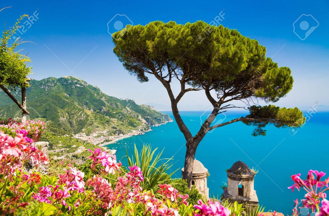 Scenic picture-postcard view of famous Amalfi Coast with Gulf of Salerno from Villa Rufolo gardens in Ravello, Campania, Italy - 30243535