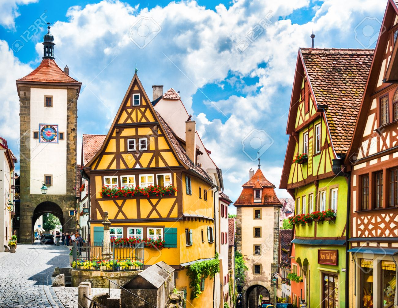 Historic town of Rothenburg ob der Tauber, Franconia, Bavaria, Germany Stock Photo - 31341853