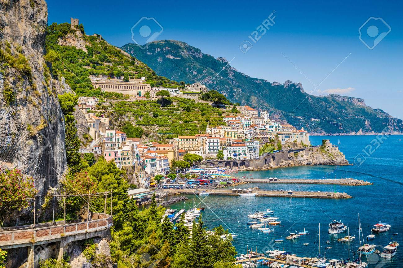 Scenic picture-postcard view of the beautiful town of Amalfi at famous Amalfi Coast with Gulf of Salerno, Campania, Italy - 33791188