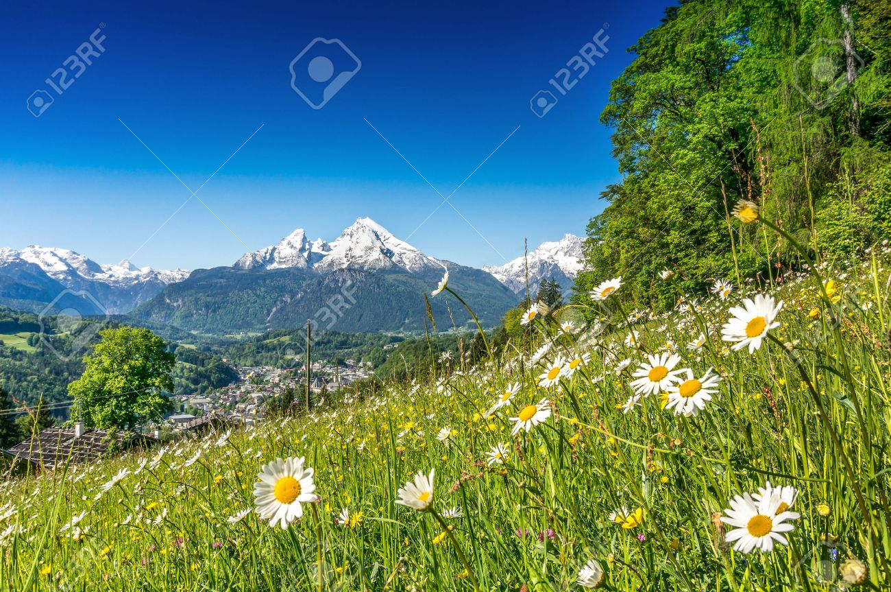Panoramic View Of Beautiful Mountain Landscape In The Alps With