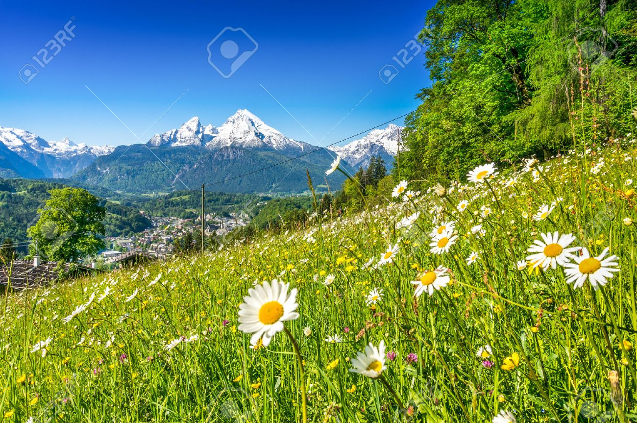 Panoramic view of beautiful landscape in the Bavarian Alps with famous Watzmann mountain in the background in springtime, Nationalpark Berchtesgadener Land, Bavaria, Germany Stock Photo - 44051432