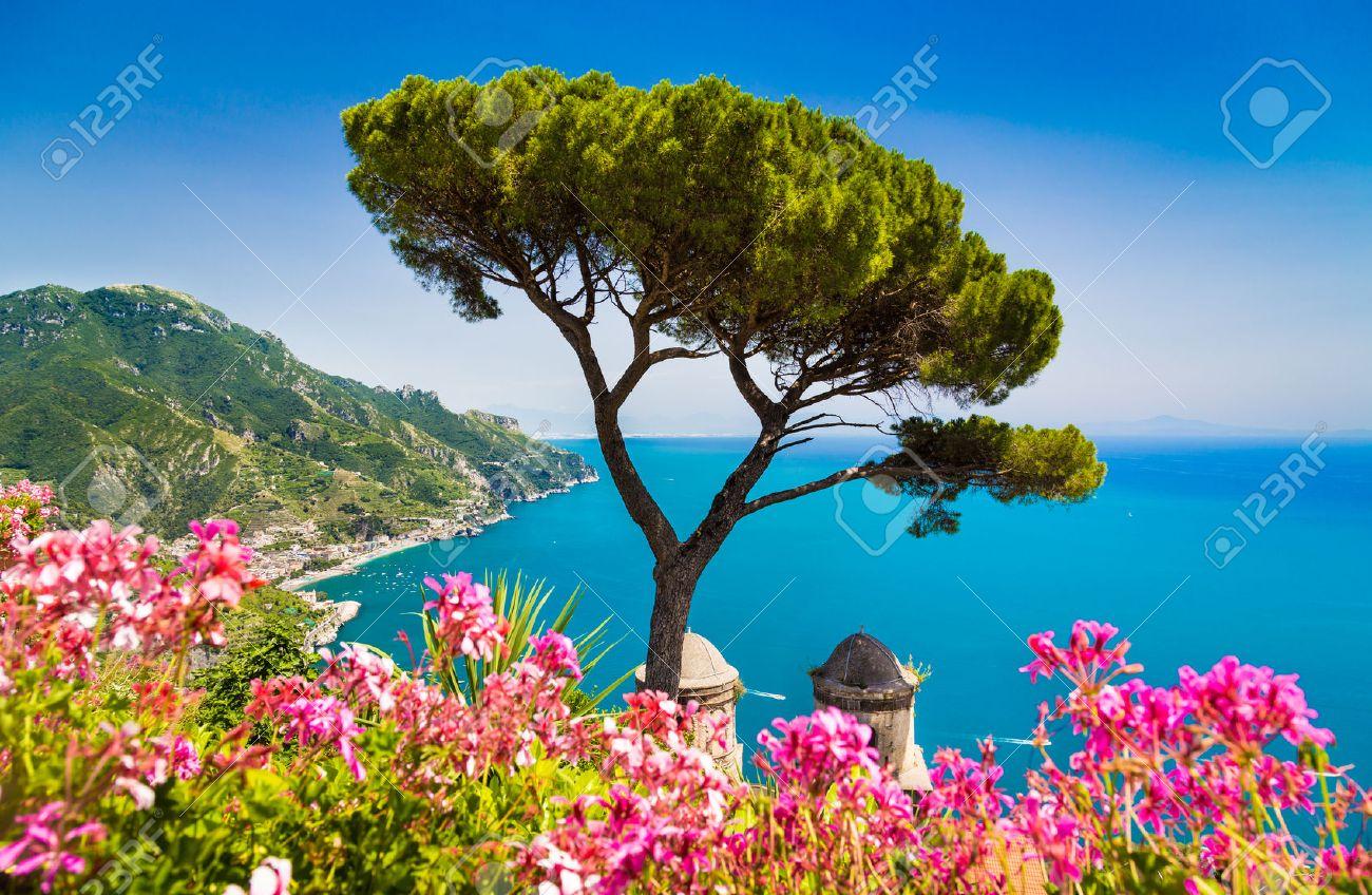 Scenic picture-postcard view of famous Amalfi Coast with Gulf of Salerno from Villa Rufolo gardens in Ravello, Campania, Italy - 49000708