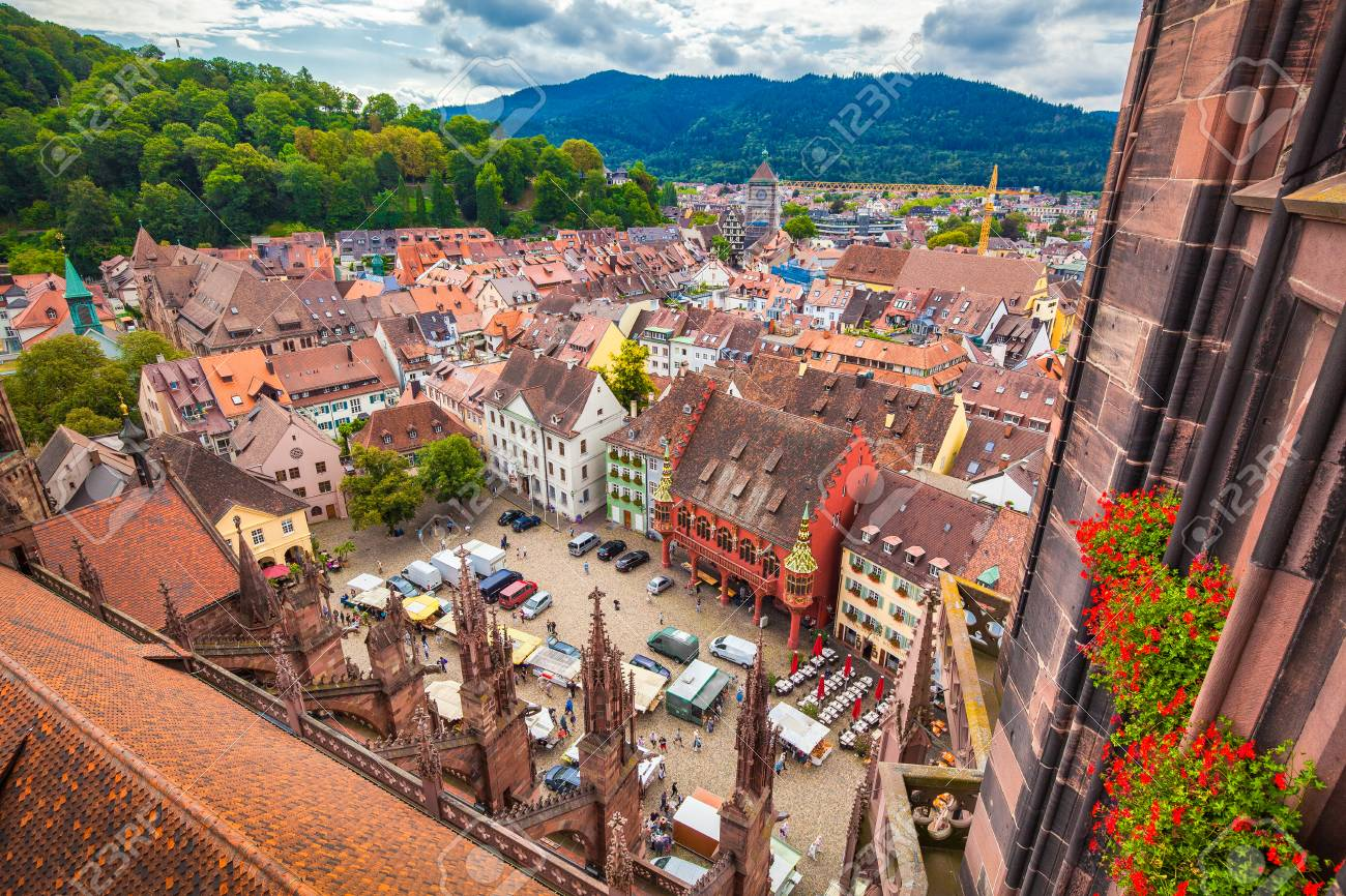 Aerial view of the historic city center of Freiburg im Breisgau.. on black forest, zürich, lake constance,