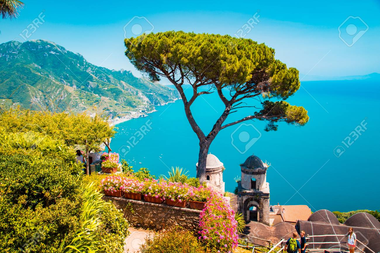 Scenic panoramic view of famous Amalfi Coast with Gulf of Salerno from Villa Rufolo gardens in Ravello, Campania, Italy - 113997788