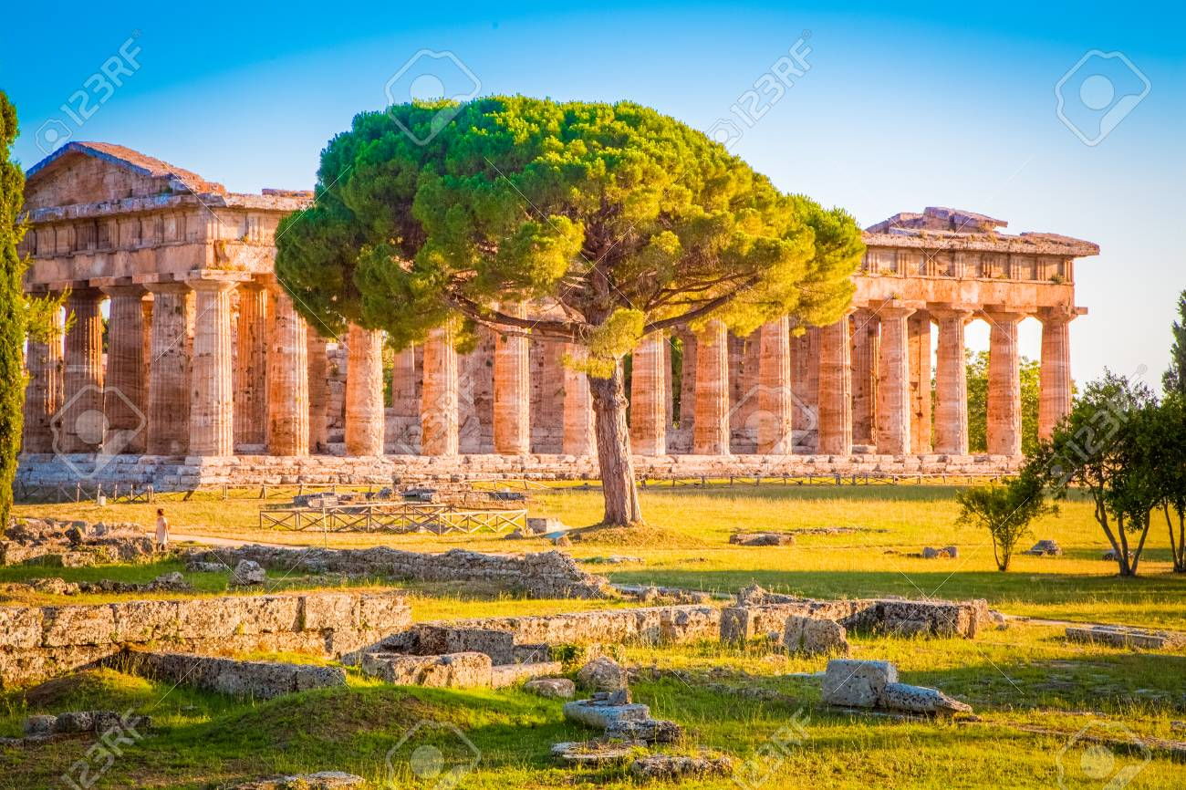 Paestum Temples Archaeological Site at sunset, Province of Salerno, Campania, Italy - 119087140