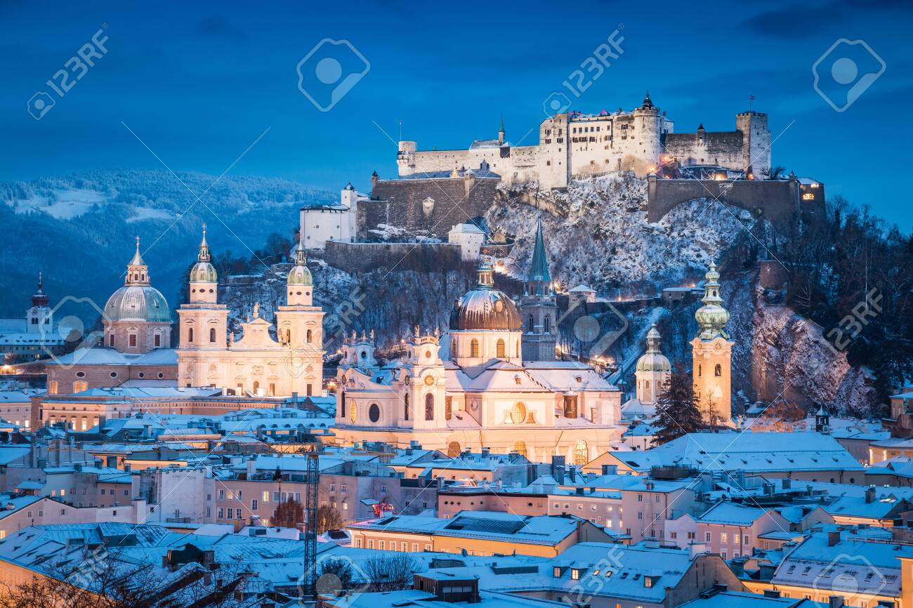 Salzburg Christmas Time.Classic View Of The Historic City Of Salzburg With Famous Festung