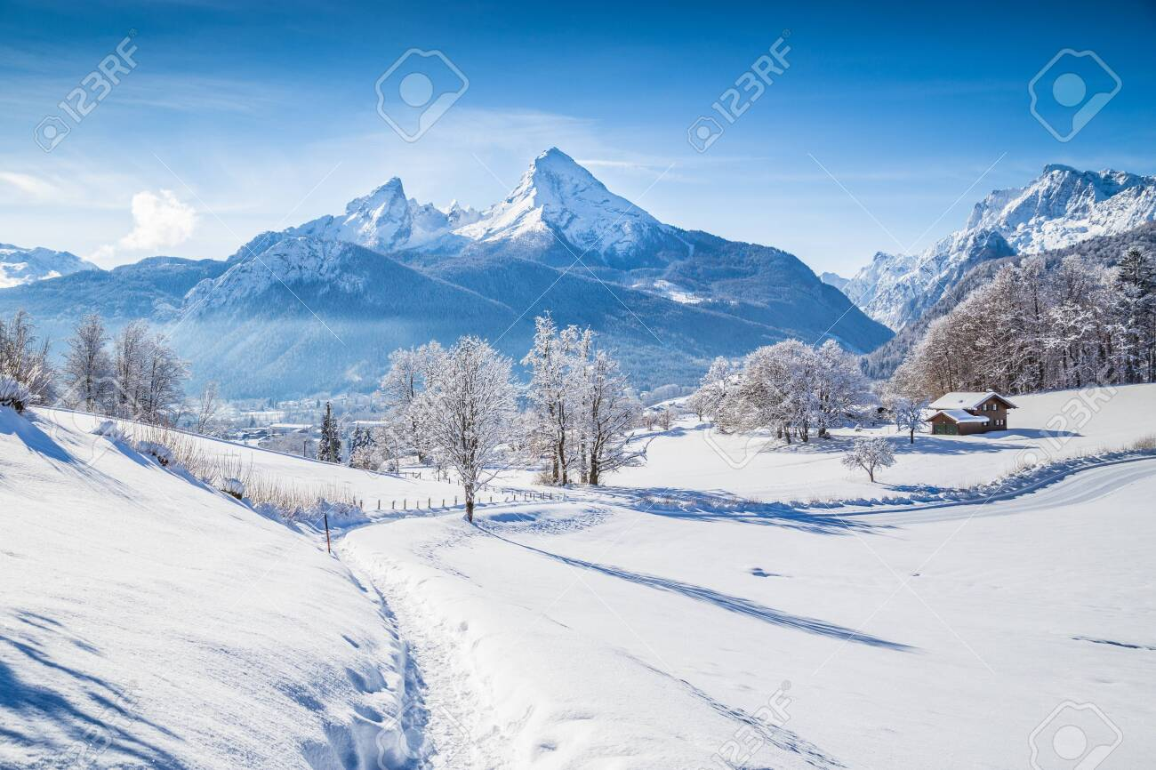 Beautiful winter scenery with trees and mountain tops in the Alps on a sunny day with blue sky and clouds - 121796093
