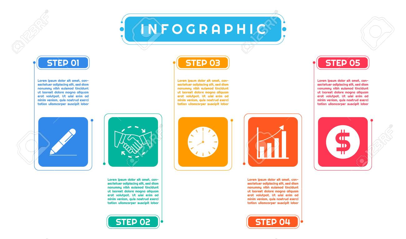 Infographic colorful art modern design for business process work step by step. vector illustration. - 142345087