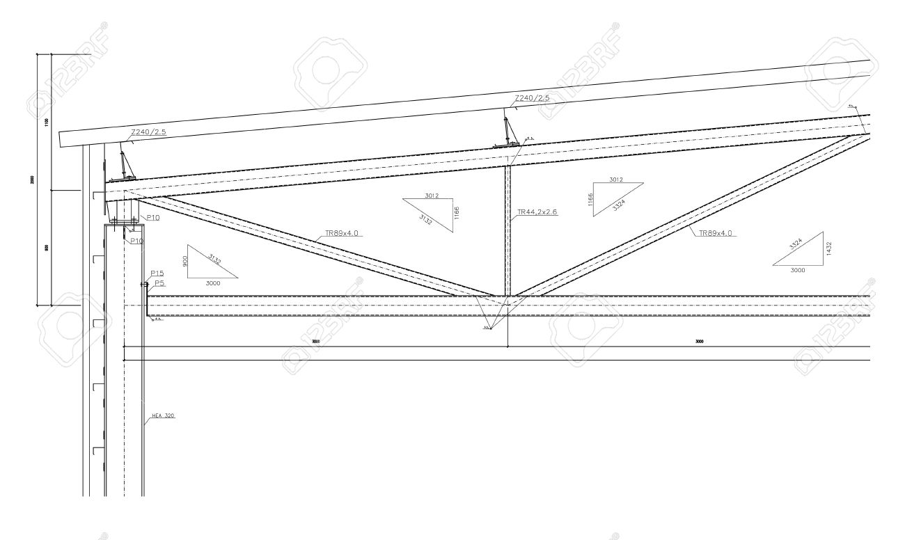 construction drawing, steel truss stock photo - 6337955