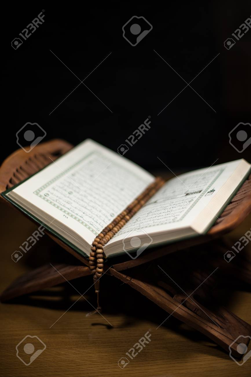 pages of holy koran and rosary at the book Stock Photo - 20225784