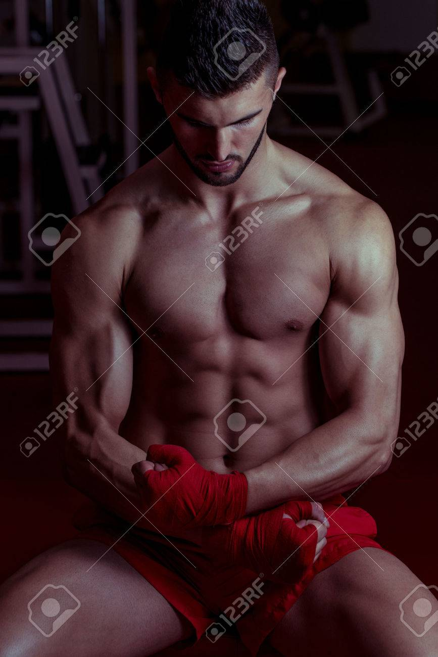 Muscular MMA Fighter Celebrating His Victory Stock Photo - 25553589