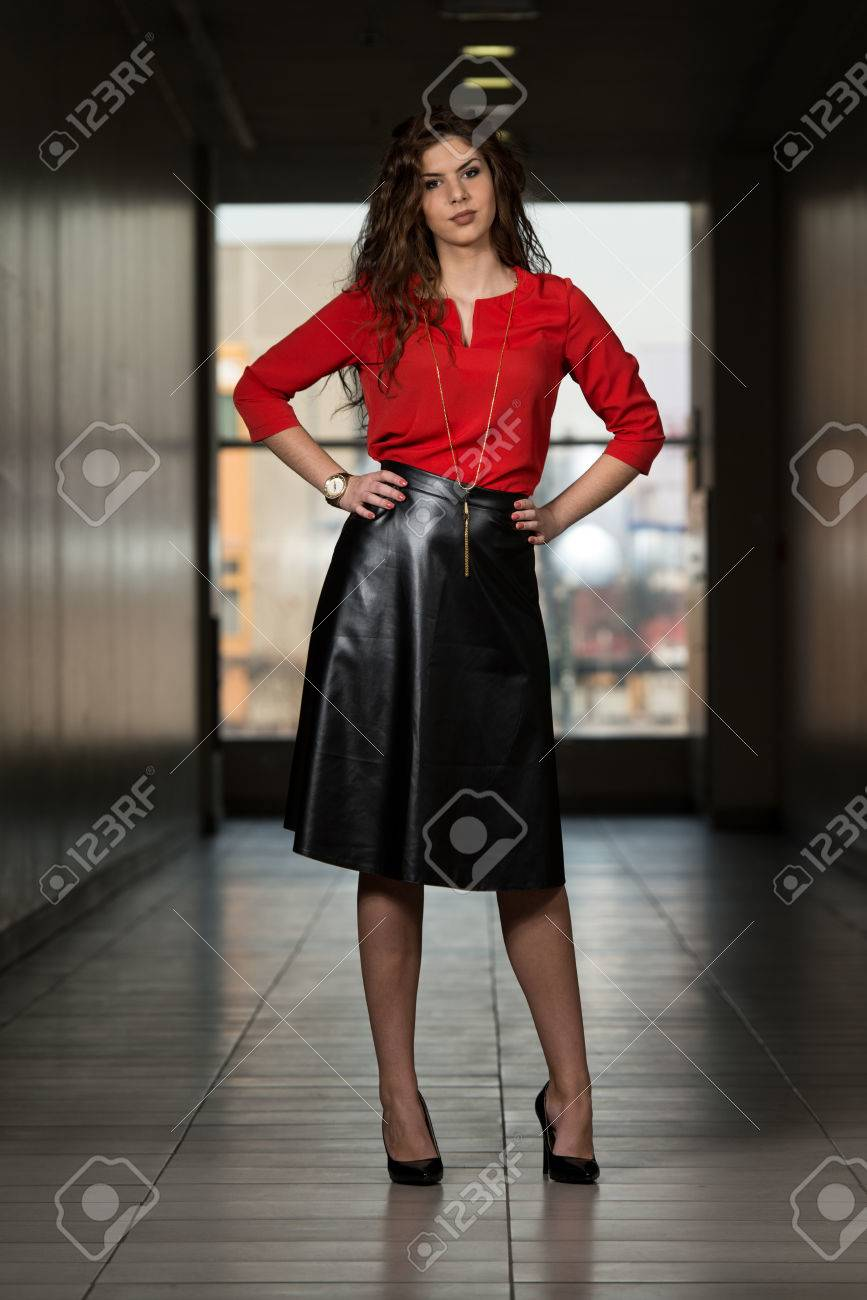 48804e5b17 Beautiful Woman Wearing Black Leather Skirt Stock Photo, Picture And ...