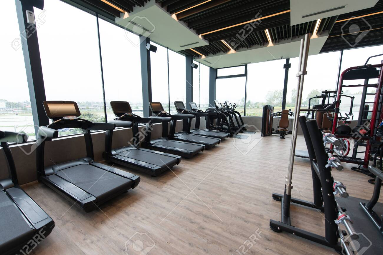 Equipment And Machines At The Modern Gym Room Fitness Center - 140822298