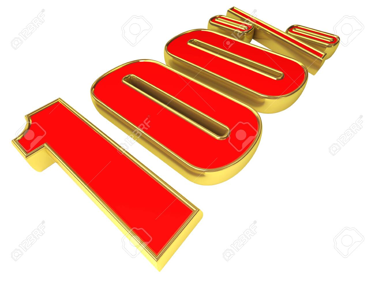 Gold-red 100 percent isolated on white background. Stock Photo - 8762277