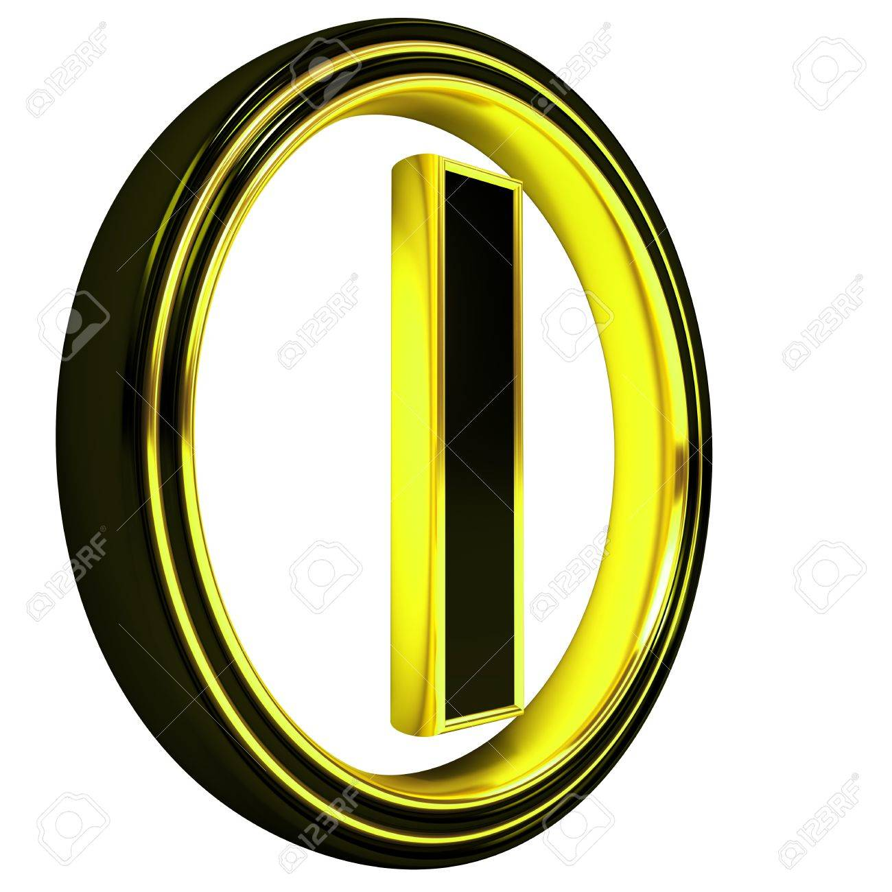 3D Letter i in circle. Black gold metal Stock Photo - 8892306