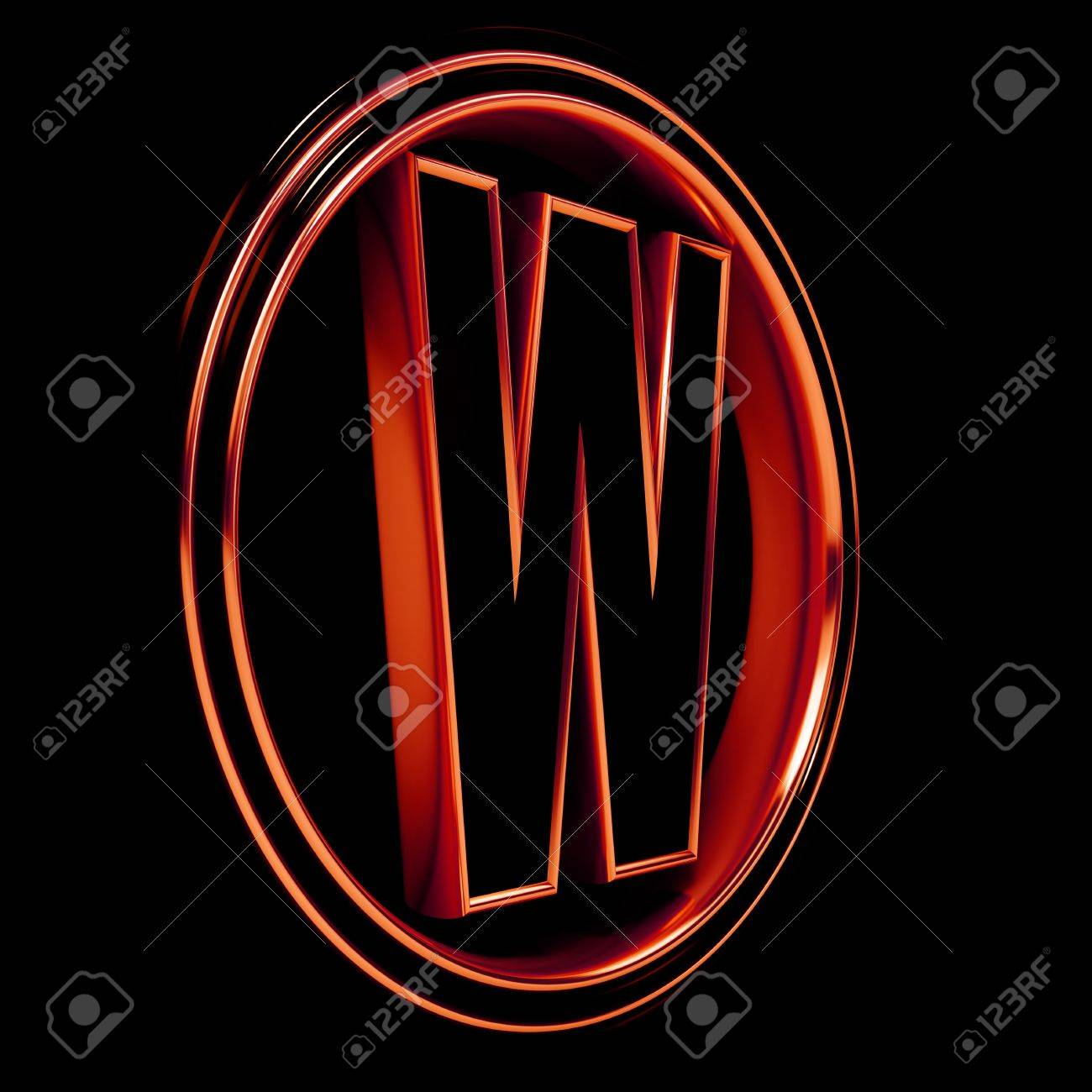 3D Letter W in circle. Red metal. Black background Stock Photo - 9022545