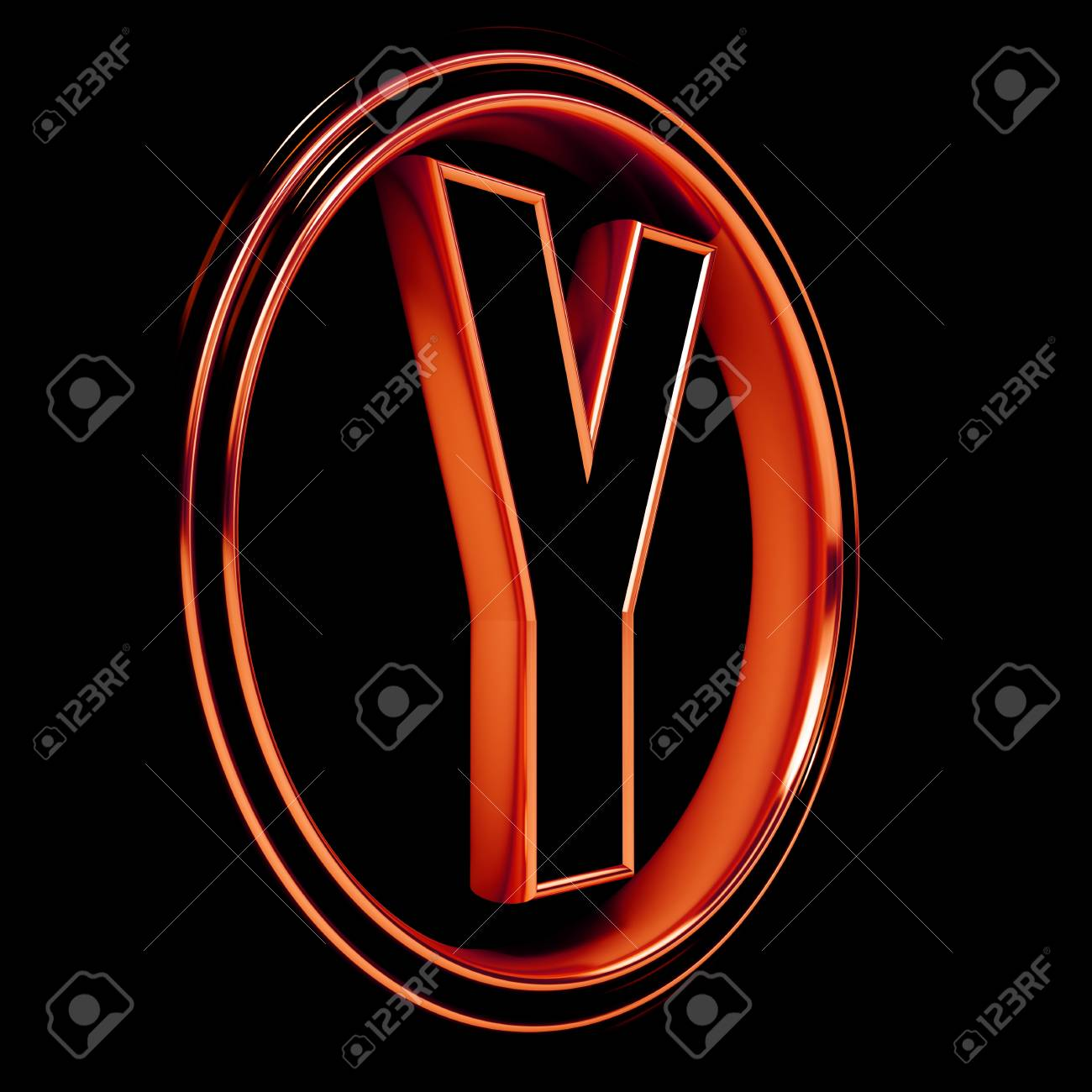 3D Letter Y in circle. Red metal. Black background Stock Photo - 9022507