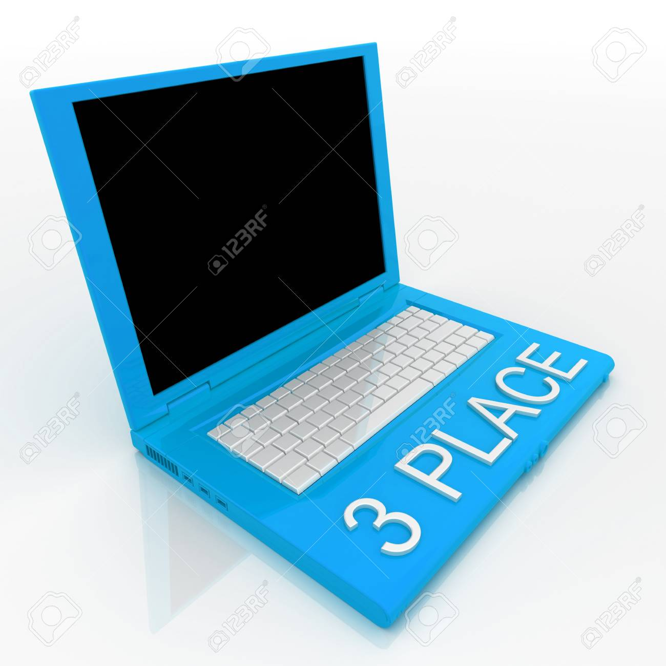 3D blank laptop computer with 3 place word on it Stock Photo - 9920962