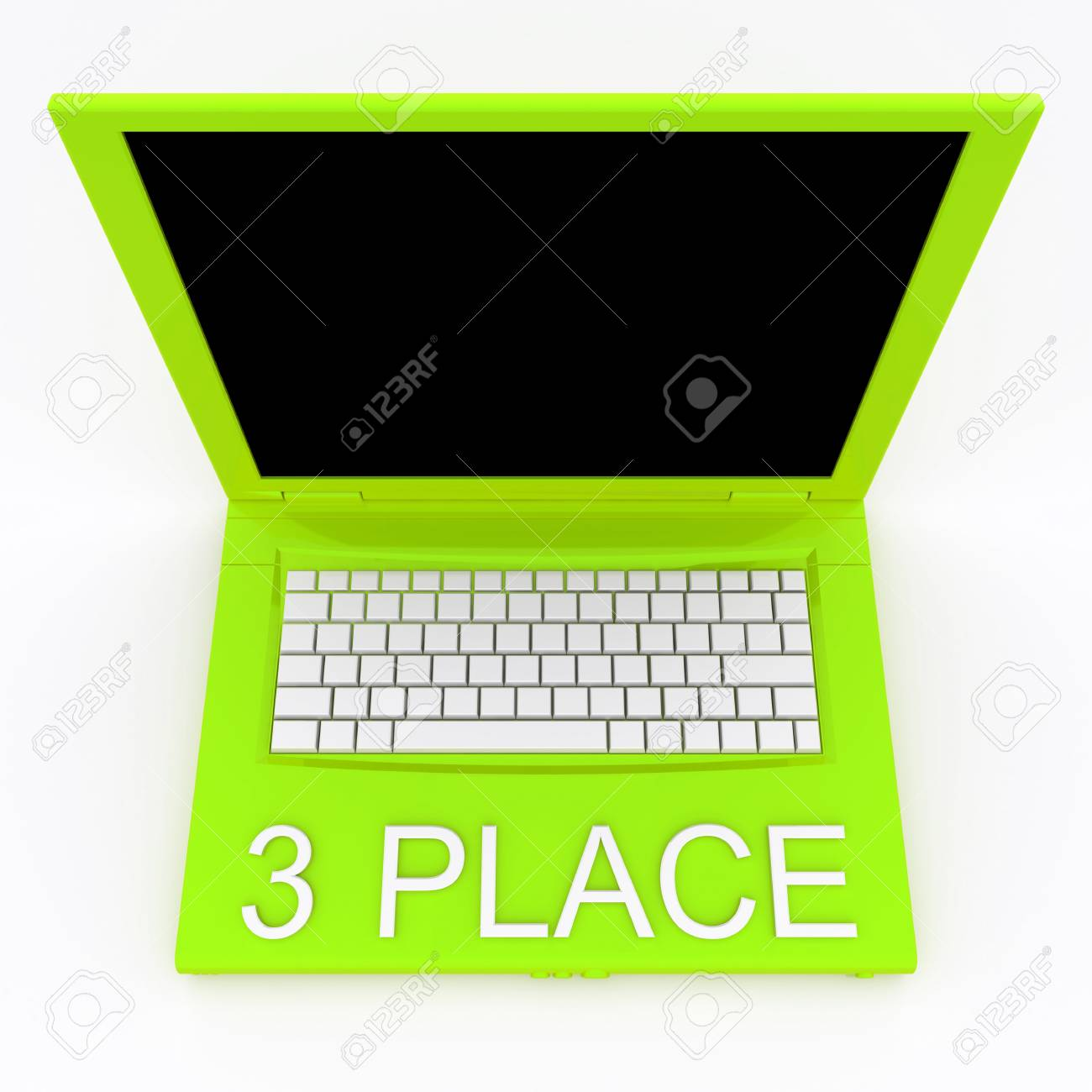 3D blank laptop computer with 3 place word on it Stock Photo - 9920905
