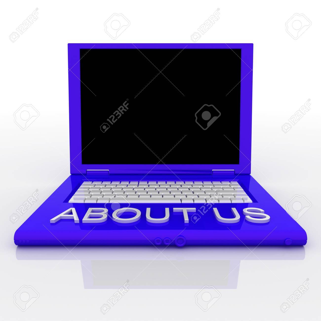 3D blank laptop computer with about us word on it Stock Photo - 9980073