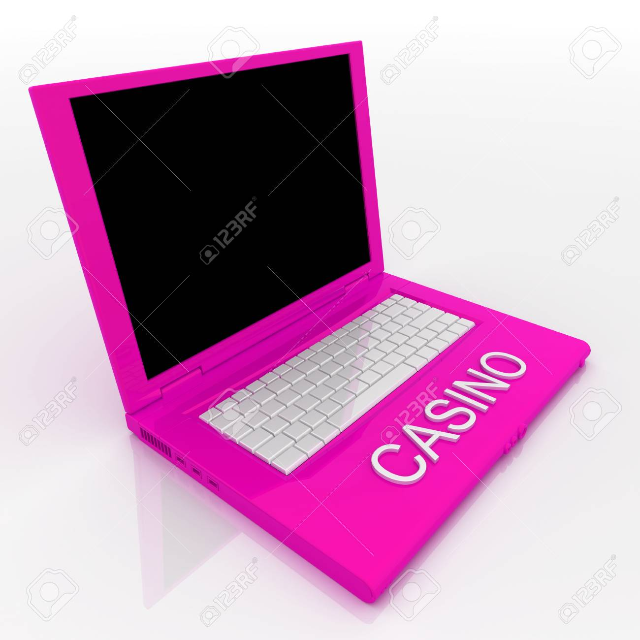 3D blank laptop computer with casino word on it Stock Photo - 9980150