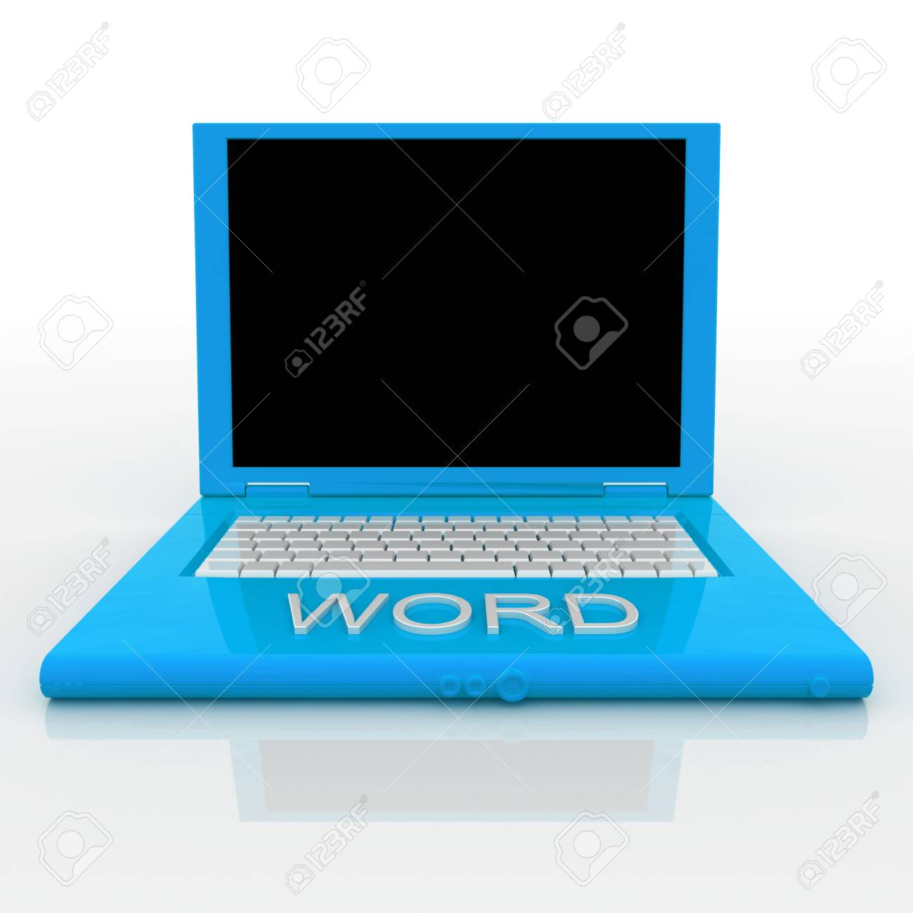 3D blank laptop computer with word on it Stock Photo - 9980142