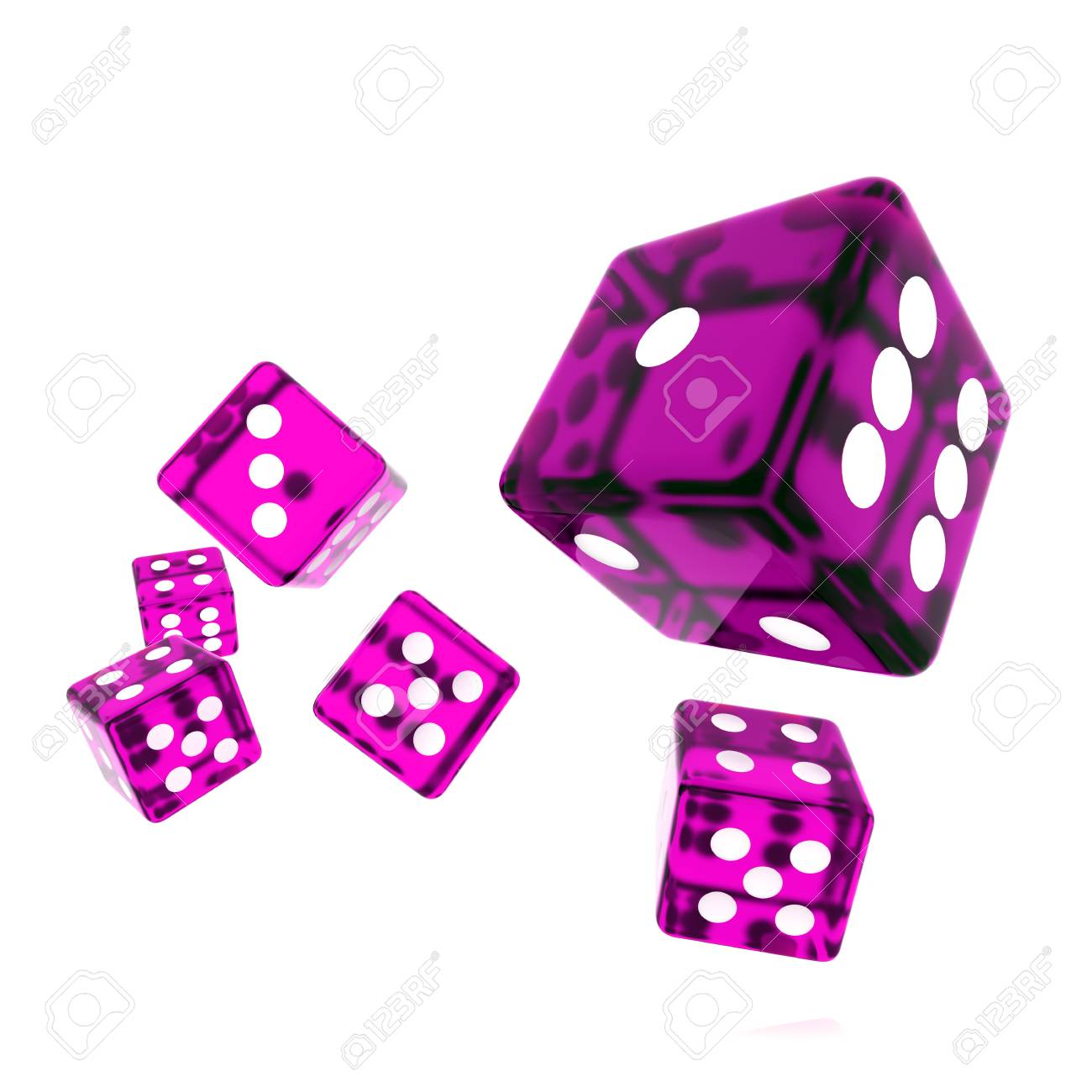 3D Rendered rolling dice on white background Stock Photo - 9980317