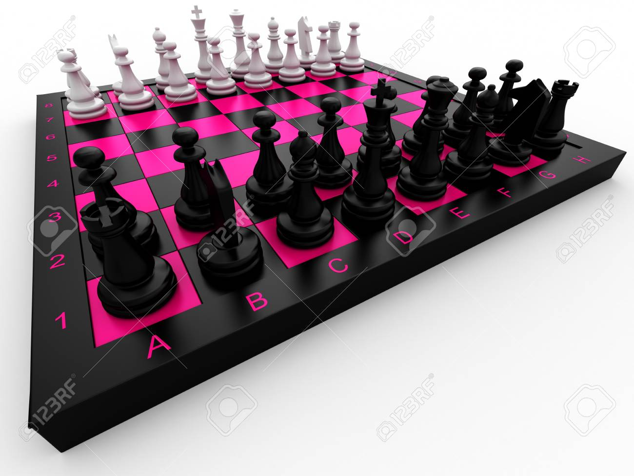 Chess pieces on a board on a white background Stock Photo - 13132085
