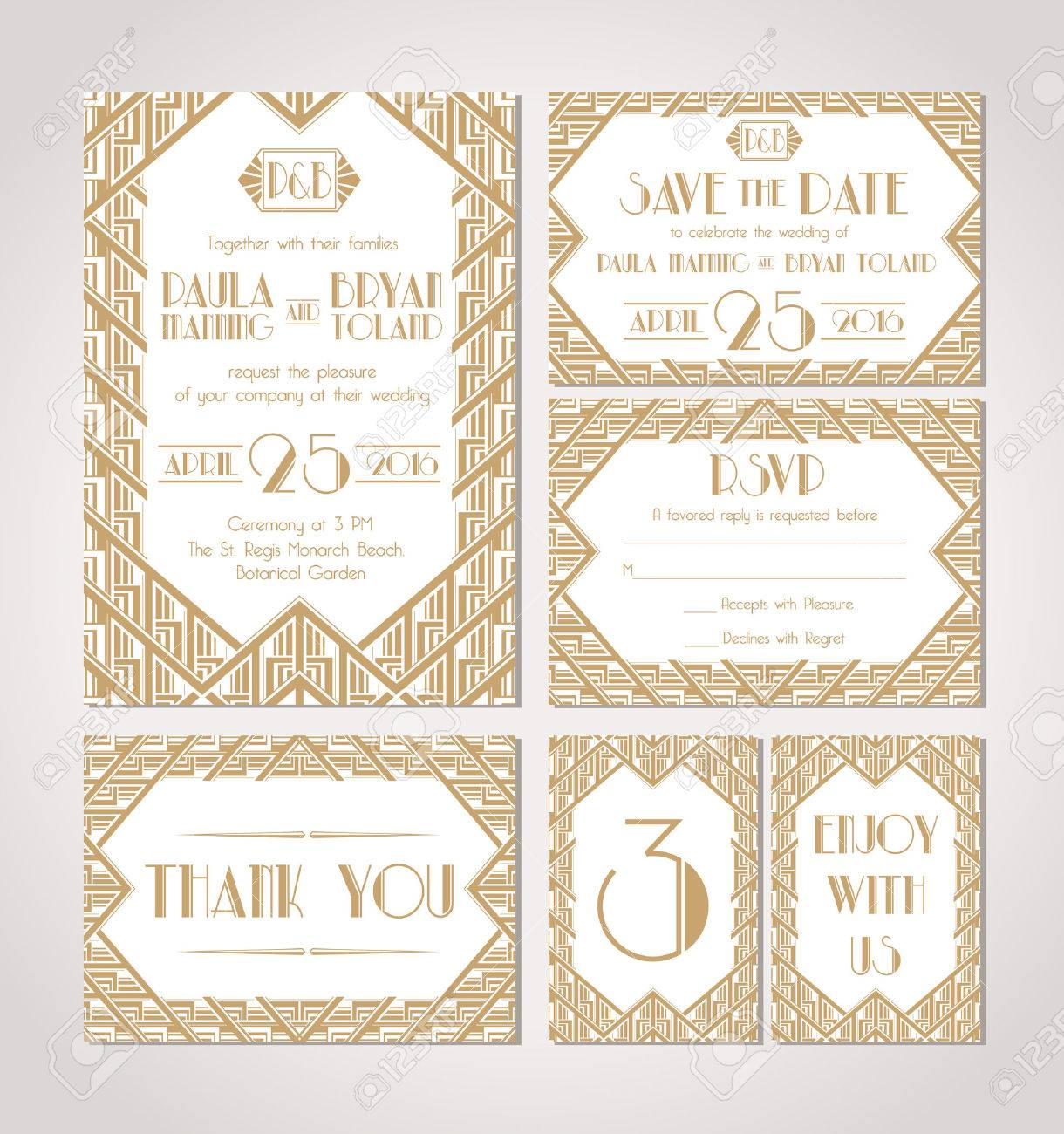 Art Deco Wedding Invitation Template Save The Date Royalty Free