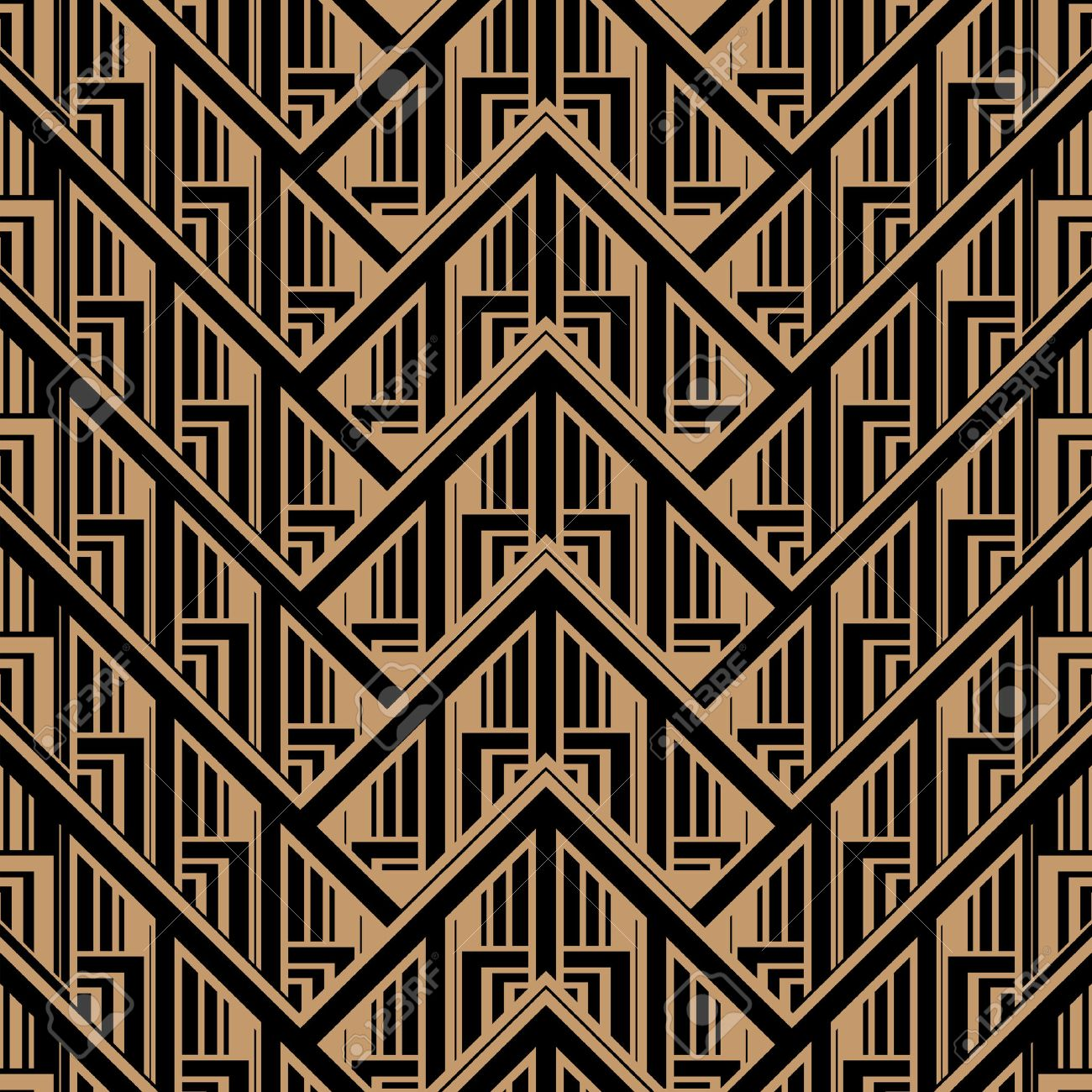 Vector Seamless Abstract Vintage Pattern. Gatsby Art Deco Style ...