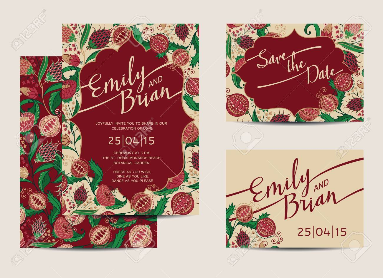 Set Of Wedding Invitation Cards. Save The Date. Vector Illustration ...