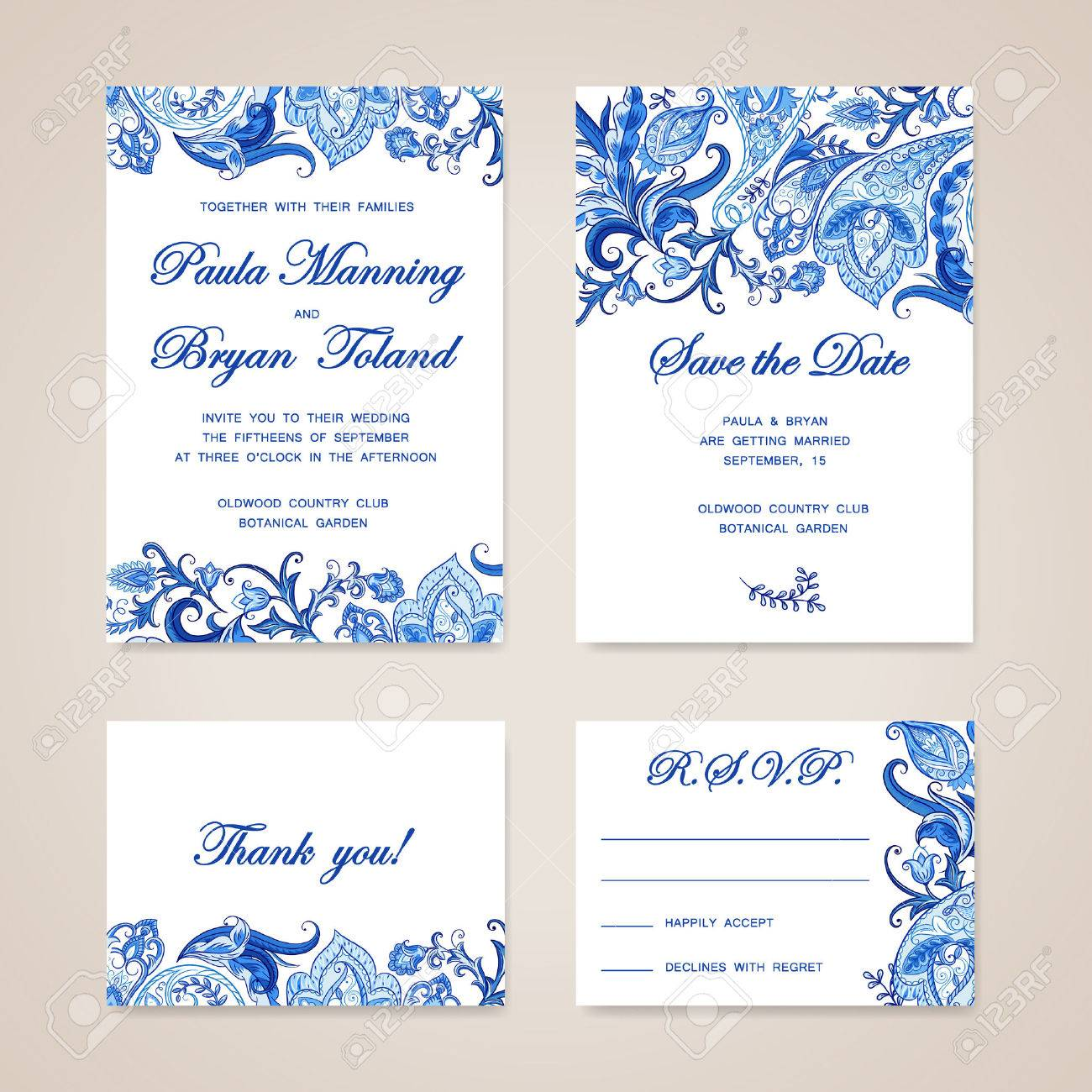 Set Of Wedding Invitation Card With Traditional Ethnic Flower ...