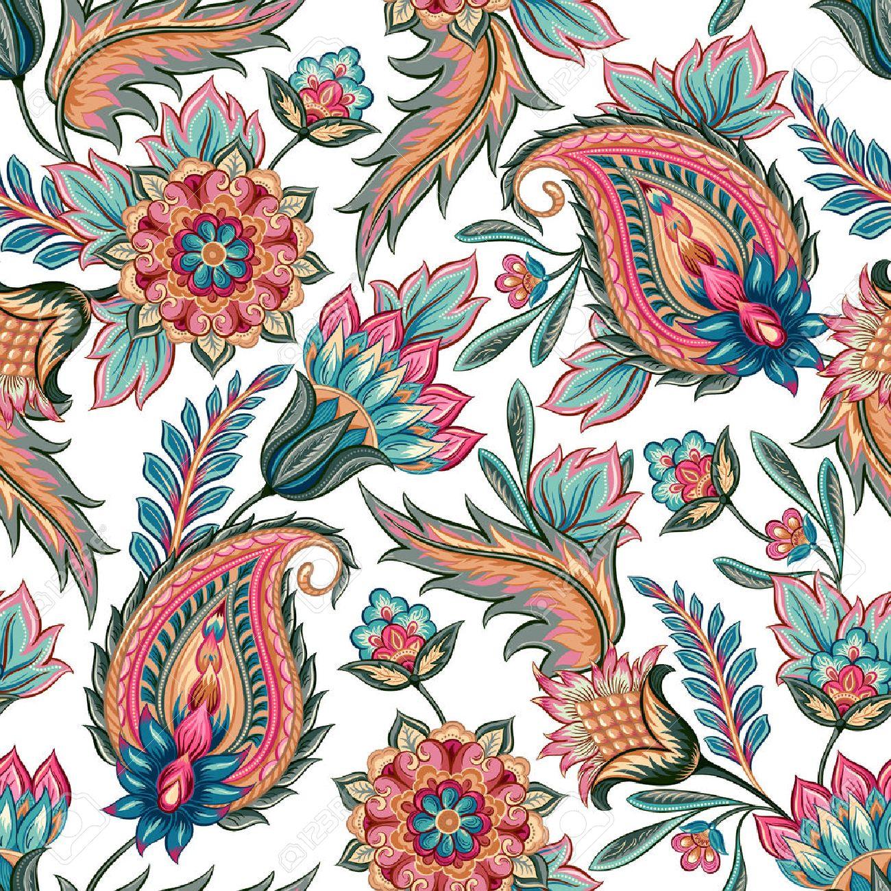 Traditional Oriental Seamless Paisley Pattern Vintage Flowers