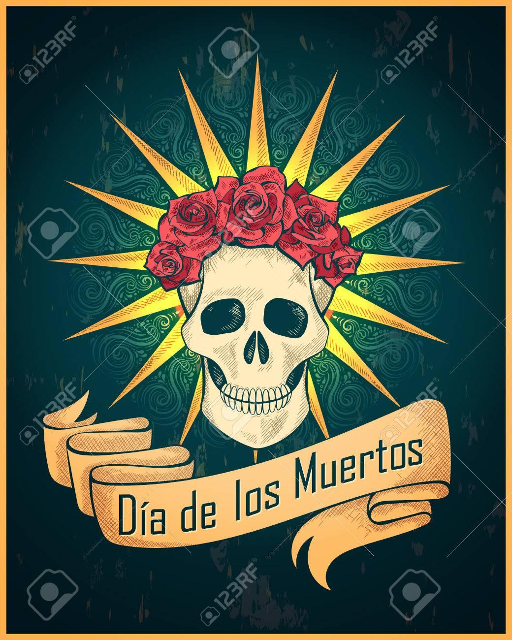 Traditional mexican festival Dias de los Muertos vector illustration of skull. Best for vintage tattoo