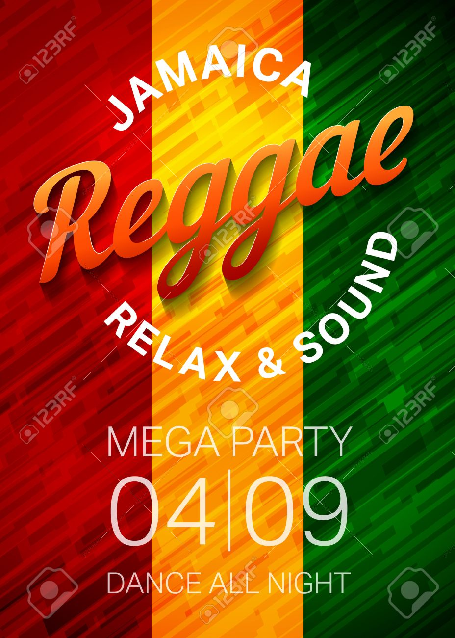 reggae music party poster template rasta dance club flyer concept vector illustration stock