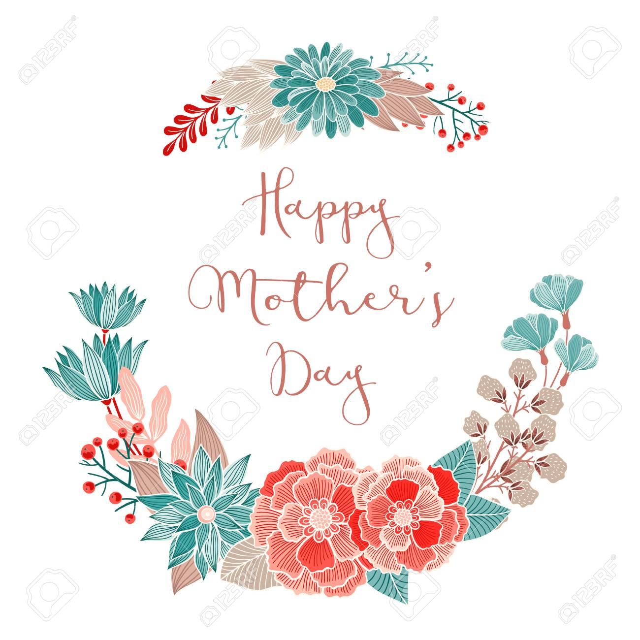 Feliz Tarjeta Floral Del Día De Madres Invitación Ahorra La Fecha Rsvp Recepción Gracias Cumpleaños Plantilla De La Tarjeta De Vacaciones Con