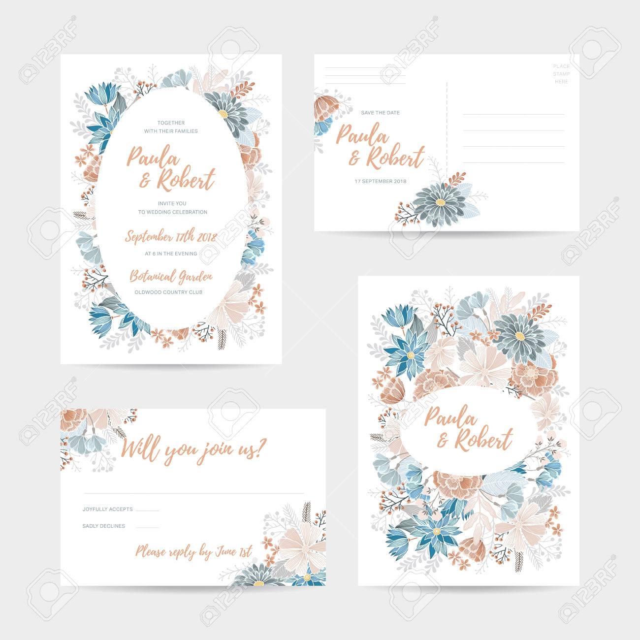 Wedding Invitation Card Set. Invitation, Save The Date, RSVP ...