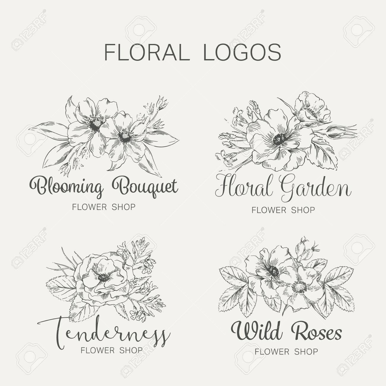 花と庭のテンプレートのグラフィックのセットです 花ラベル シンボル