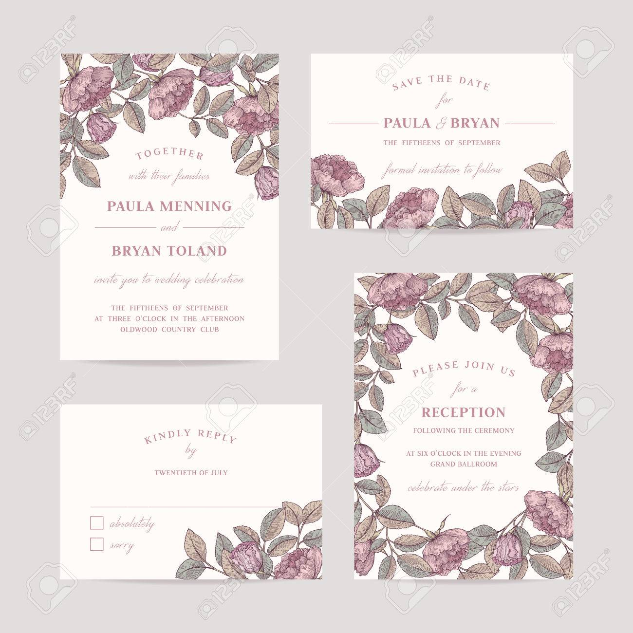 Hand Drawn Rose Garden Wedding Invitation Card Set. Invitation ...