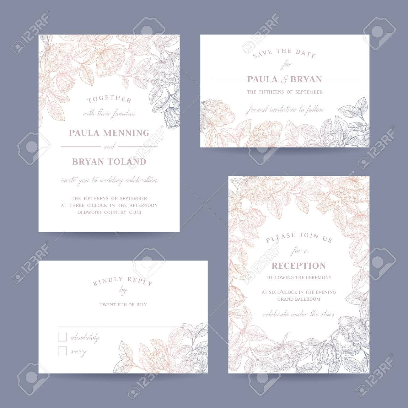Hand drawn rose garden wedding invitation card collection. Invitation, Save the date, RSVP, Reception, Thank you card template with floral background. - 65082545