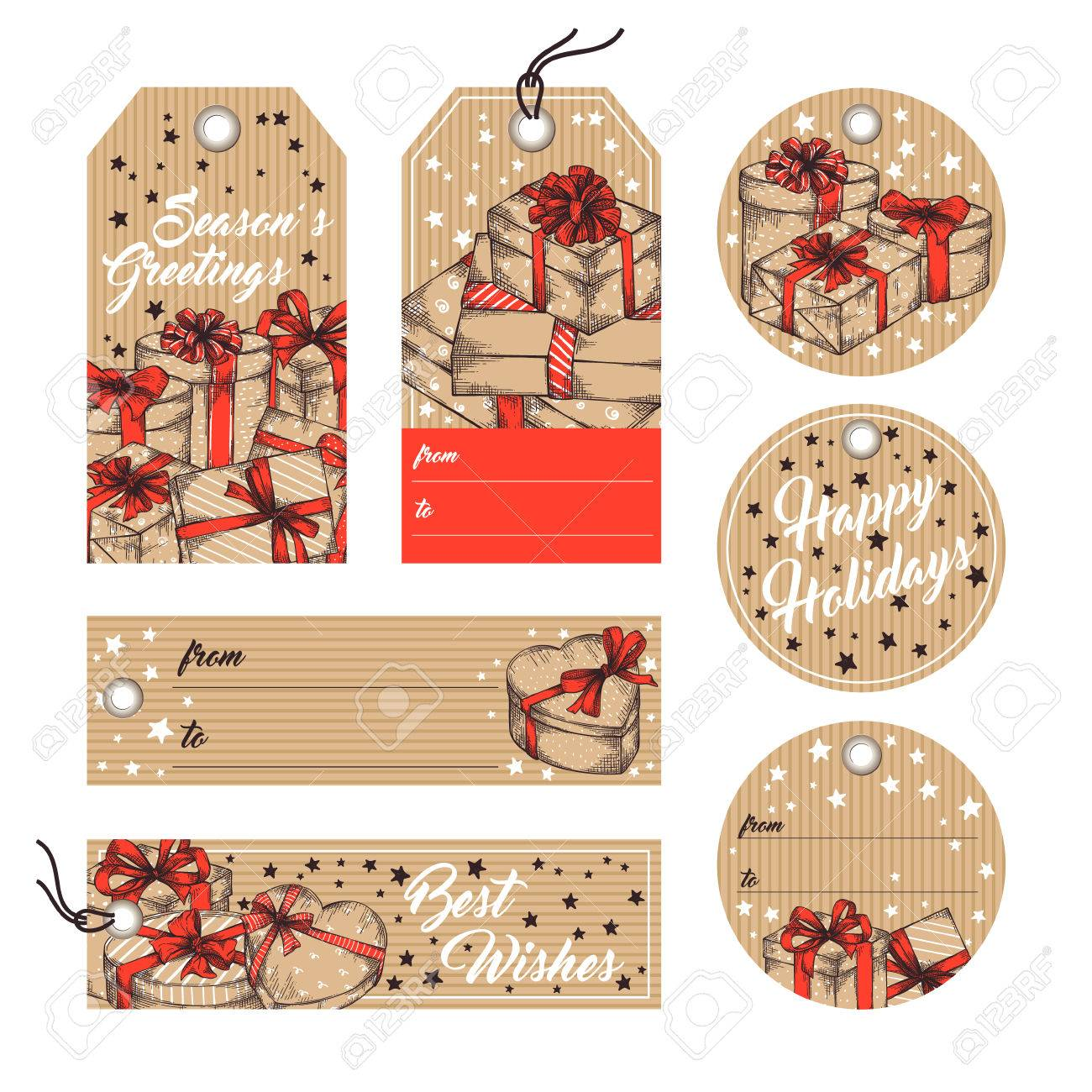 collection of gift tags badges labels template in retro style