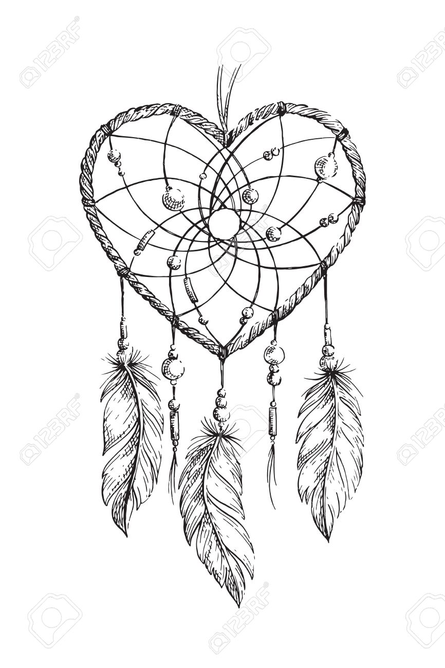 Kleurplaten Voor Volwassenen Tattoo.Hand Getrokken Etnische Dreamcatcher Hart Kleurplaat Voor