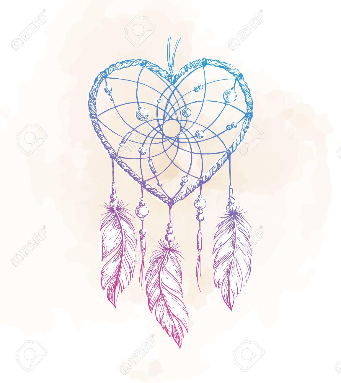 Hand Gezeichnet Ethnischen Traumfanger Herz Einheimische Vektor