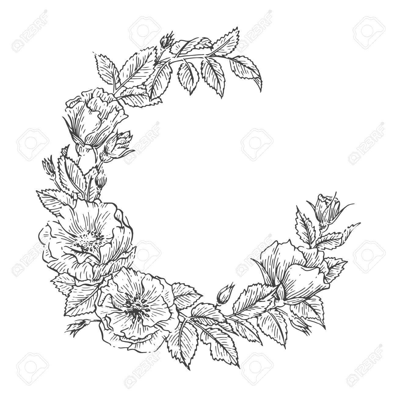 Hand Drawn Sketch Garden Floweral Wreath Vector Greeting Card