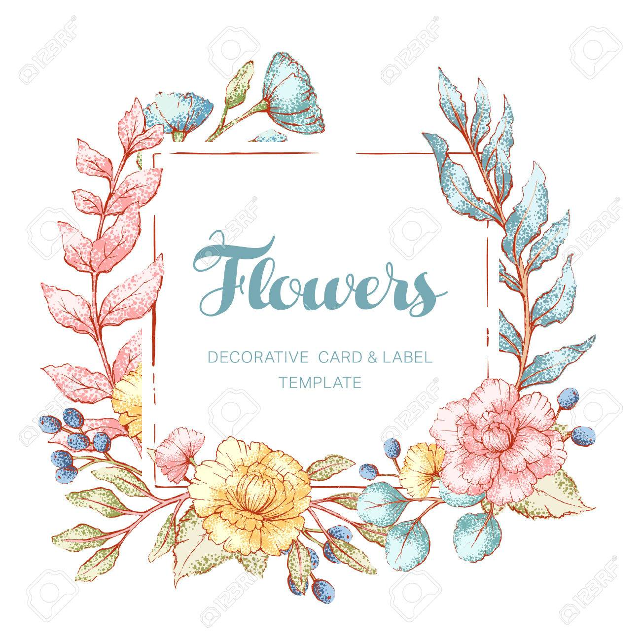 floral frame template stock vector 84598643