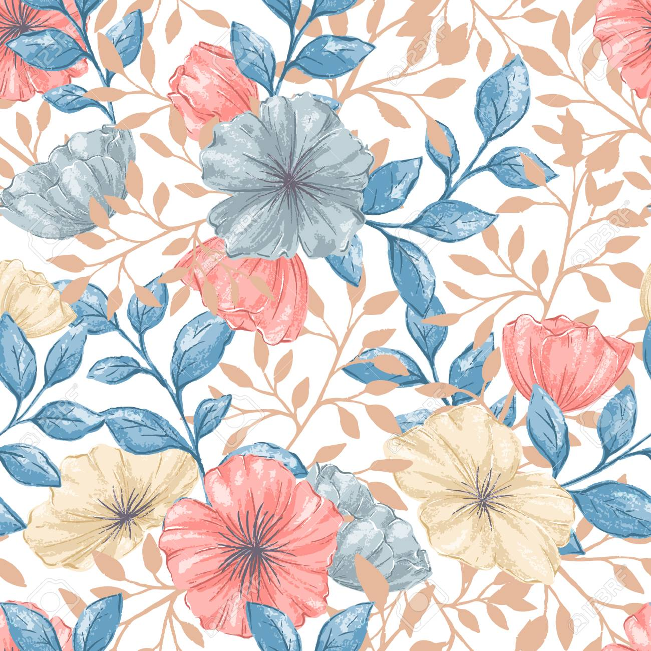 A Seamless Retro pattern on plain background. - 91414730