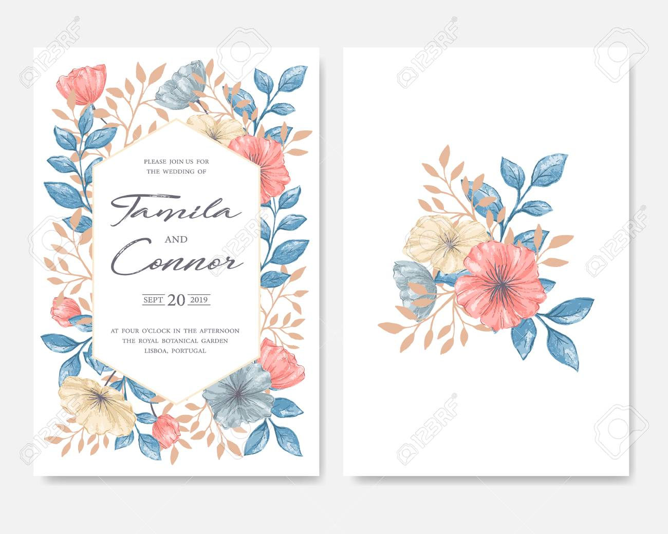 Wedding Invitation Card On Plain Background