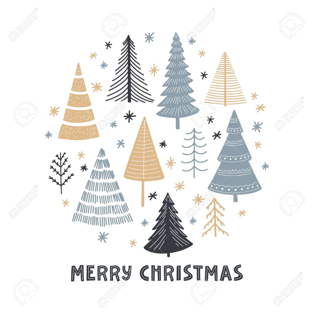 Merry Christmas Simple Minimalist Flat Doodle Trees Set Cartoon Royalty Free Cliparts Vectors And Stock Illustration Image 153242147